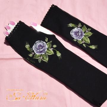 160602アームカバー黒紫薔薇