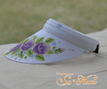 紫薔薇のサンバイザーminneに出品しています