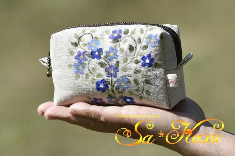 青い小花ボックスポーチ-1