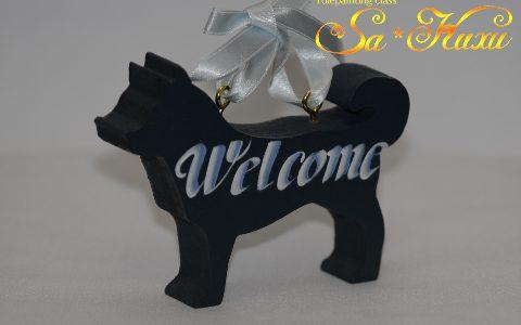 犬のウェルカム紺・両面ペイントminneに出品しています