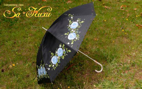 青薔薇の日傘(黒)minneに出品しました