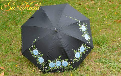 青薔薇の日傘(黒)minneに出品しています