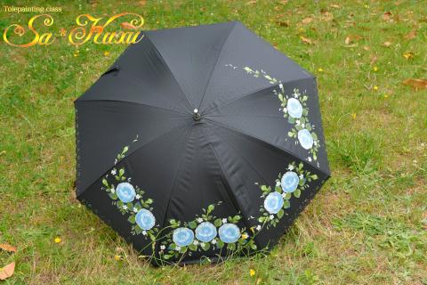 180701青薔薇日傘黒-1