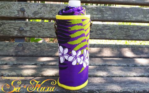 プルメリアのペットボトルケース(紫)minneに出品しました