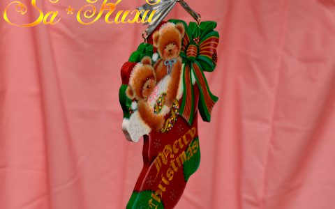 サンタ帽子ベアのクリスマスソックスminneに出品しました