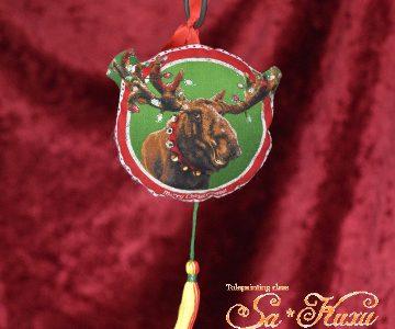 ヘラジカのクリスマス飾りminneに出品しています