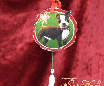 ボストンテリア(犬)のクリスマス飾りminneに出品しています