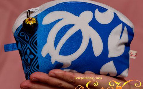 ホヌのラウンドポーチ(青)minneに出品しました