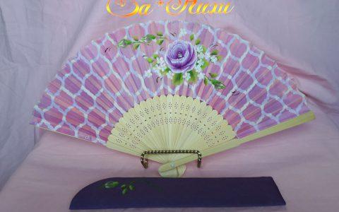 紫薔薇の布扇子(ピンクモロッカンタイル柄)minneに出品しました