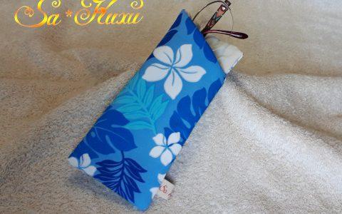 プルメリアの布メガネケース(青)minneに出品しました