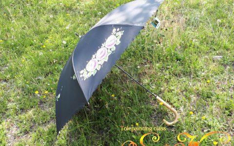 紫薔薇の日傘(黒)minneに出品しました