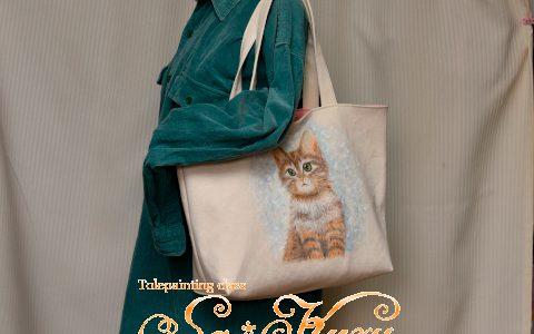子猫のトートバッグA4サイズminneに出品しています