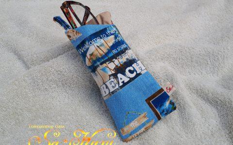 ビーチの布メガネケース(青)minneに出品しました
