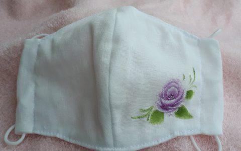 大人用立体布マスク白(紫薔薇)minneに出品しました