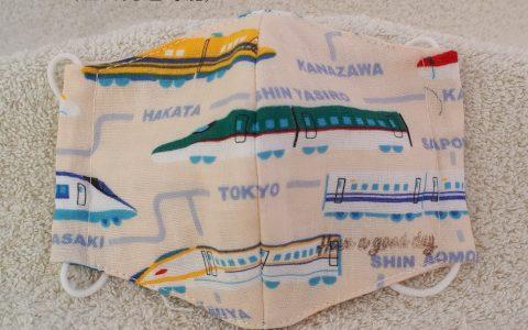 子供用立体布マスク(新幹線、アイボリー)minneに出品しました
