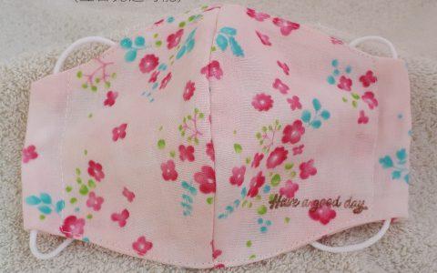 大人用立体布マスク(ピンク花、ピンク)minneに出品しました