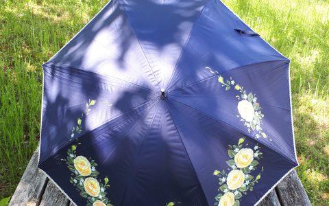 黄薔薇の日傘(紺)晴雨兼用minneに出品しました