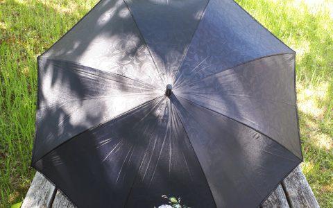 ピンク薔薇の日傘(黒)晴雨兼用minneに出品しました