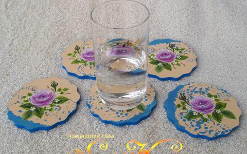 紫薔薇のコースター5枚セットminneに出品しました